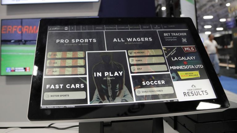 A monitor shows a Playtech bet tracker. Pic: AP