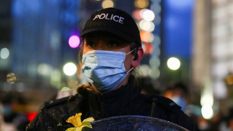 Five hours after the latest protest began in Bristol, police changed tactics