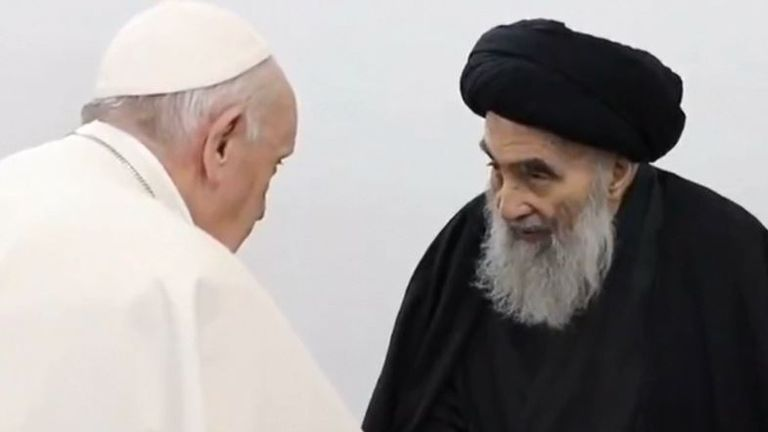 Pope joins hands with Ayatollah Sistani in Iraq