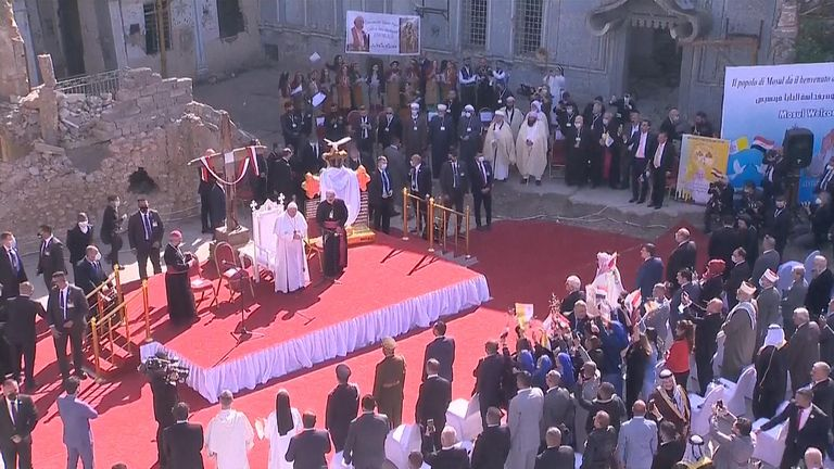 Pope Francis arrives in Mosul