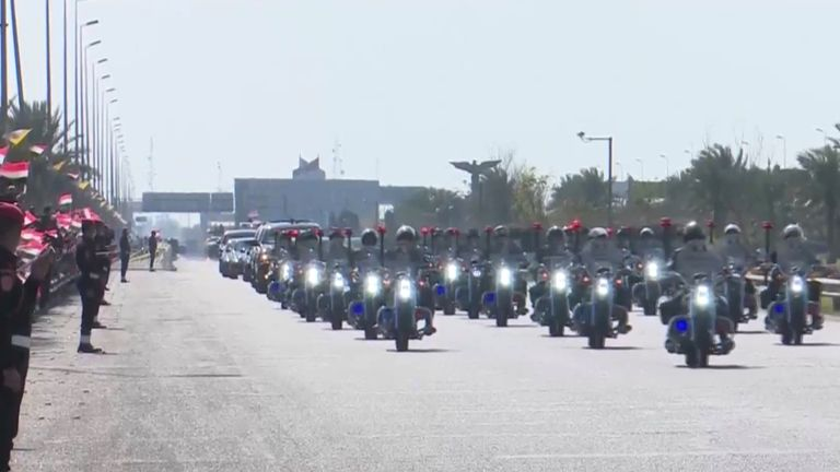A motorcade has escorted Pope Francis during  his historic tour
