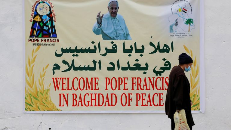 The pontiff is visiting Baghdad during a fresh wave of coronavirus cases