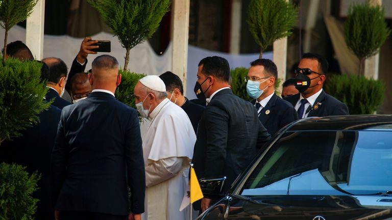 Pope Francis is pictured as he arrives to meet with Iraq's top Shi'ite cleric, Grand Ayatollah Ali al-Sistani, in Najaf, Iraq March 6, 2021. REUTERS/Alaa Al-Marjani