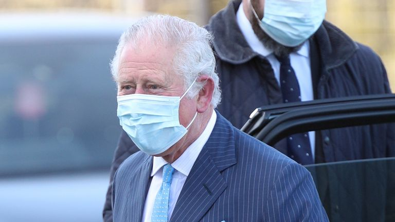The Prince of Wales arrives for a visit to an NHS vaccine pop-up clinic at Jesus House church, London. Picture date: Tuesday March 9, 2021.