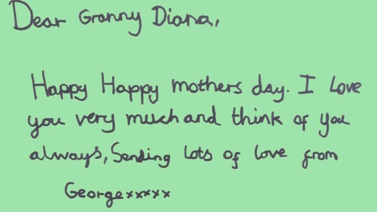 Prince George's Mother's Day tribute to 'Granny Diana' on Mother's Day 2021. Pic: Kensington Palace Twitter
