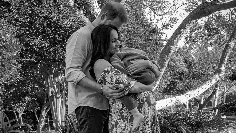 Prince Harry, Meghan and Archie. Pic: Misan Harriman