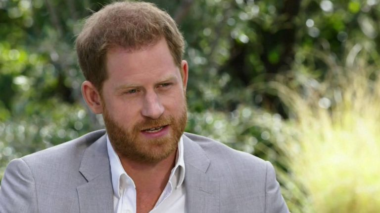 Prince Harry during his interview with Oprah Winfrey. pic: CBS