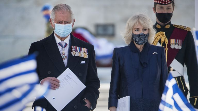 Charles and Camilla flew to Athens to watch an Independence Day parade