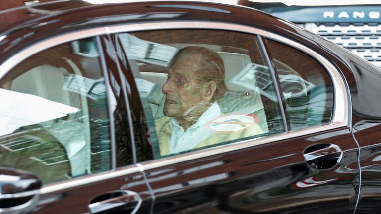 Prince Philip leaves King Edward VII's Hospital in London