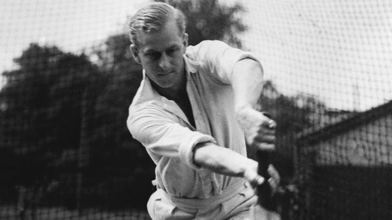Lt. Philip Mountbatten, whose marriage to Princess Elizabeth has been set for November 20, bats at the nets during cricket practice July 31, 1947 at the Petty Officers' Training Center, Corsham, Wiltshire, England. (AP Photo)