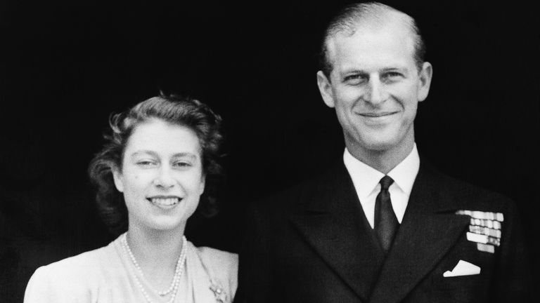 This official picture of Britain's Princess Elizabeth, heir presumptive to the British throne and her fiance, Lieut. Philip Mountbatten, was made on July 10, 1947 in London.  The Princess'  engagement ring can be seen on her finger. (AP Photo)