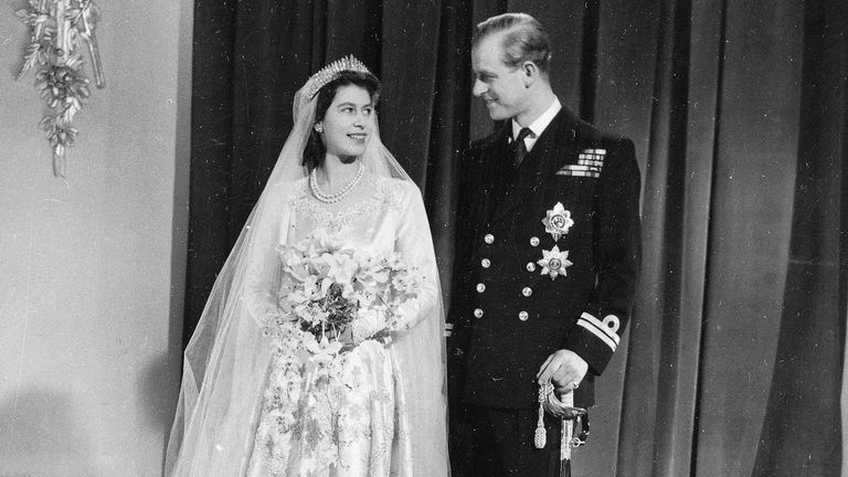 This is the official wedding picture of Princess Elizabeth and her new husband Prince Philip,Duke of Edinburgh, made after their return to Buckingham Palace after their marriage in Westminster Abbey, Nov. 20, 1947.  (AP Photo)