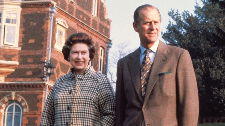 Britain's Queen Elizabeth II and the Duke of Edinburgh, Prince Philip, pose in the grounds of Sandringham House, Norfolk, Feb. 4, 1982, to commemorate the 30th anniversary of Her Majesty's accession the the throne. (AP Photo/Pool)