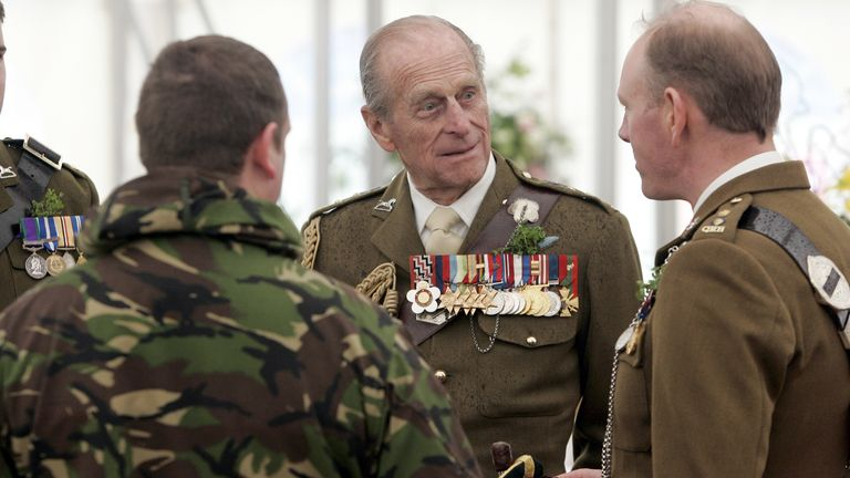 The Duke of Edinburgh Prince Philip visits the Queen's Royal Hussars in his function as honorary colonel in Paderborn-Sennelager, Germany, 16 March 2008. Due to the regiment's Irish origin the consort of Queen Elizabeth II will celebrate St. Patrick's Day with the veterans, soldiers and their family. Photo by: Jörg Carstensen/picture-alliance/dpa/AP Images