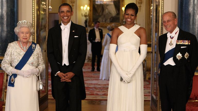 Britain's Queen Elizabeth II, U.S. President Barack Obama, first lady Michelle Obama and Prince Philip in Buckingham Palace, London, ahead of a state banquet on Tuesday May 24, 2011. President Barack Obama immersed himself in the grandeur of Britain's royal family Tuesday, as Queen Elizabeth II welcomed him to Buckingham Palace for the first day of a state visit. (AP Photo/Chris Jackson, Pool)