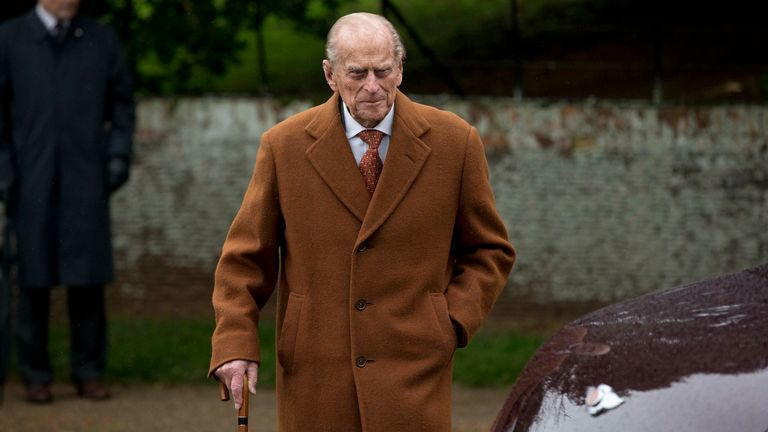 """FILE - In this file photo dated Friday, Dec. 25, 2015, Britain's Prince Philip leaves after attending the British royal family's traditional Christmas Day church service at St. Mary Magdalene Church in Sandringham, England, Friday, Dec. 25, 2015. Buckingham Palace officials said in a statement Monday May 30, 2016, that the 94-year old Prince Philip has """"reluctantly"""" decided to follow doctor's advice and not to attend upcoming centenary commemorations marking the Battle of Jutland in northeastern"""