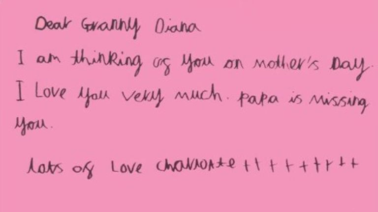 Princess Charlotte's Mother's Day card in tribute to 'Granny Diana' on Mother's Day 2021. Pic: Kensington Royal Twitter