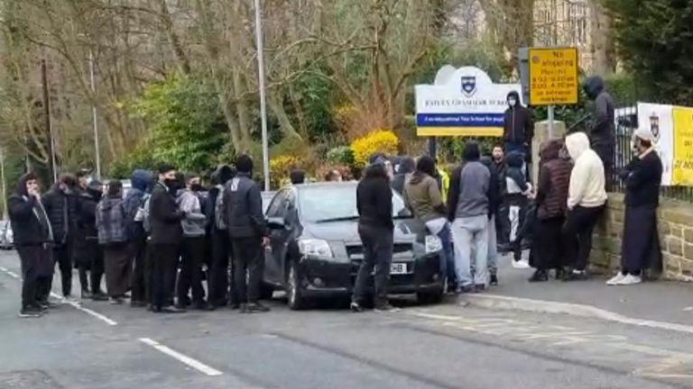 Protest outside Batley Grammar School. Pic: Ben Lack/YappApp