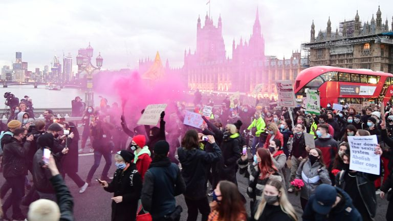 Demonstrators during a protest on Westminster Bridge, central London, in memory of Sarah Everard