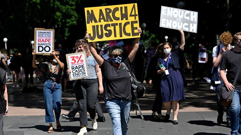 Protesters rally in Sydney on 15 March