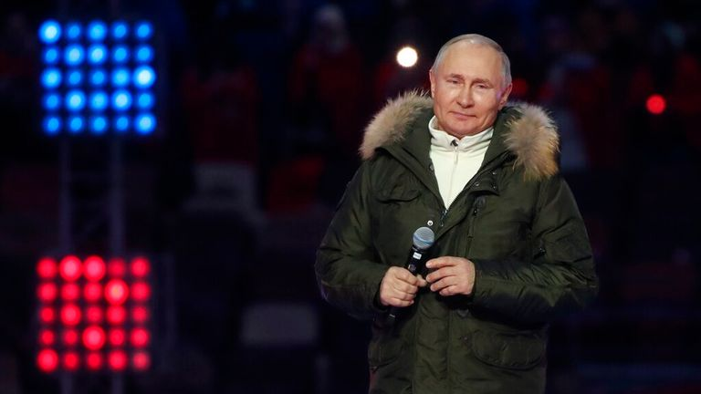 Mr Putin made the comments before attending an event to mark its annexation of Crimea. Pic: AP