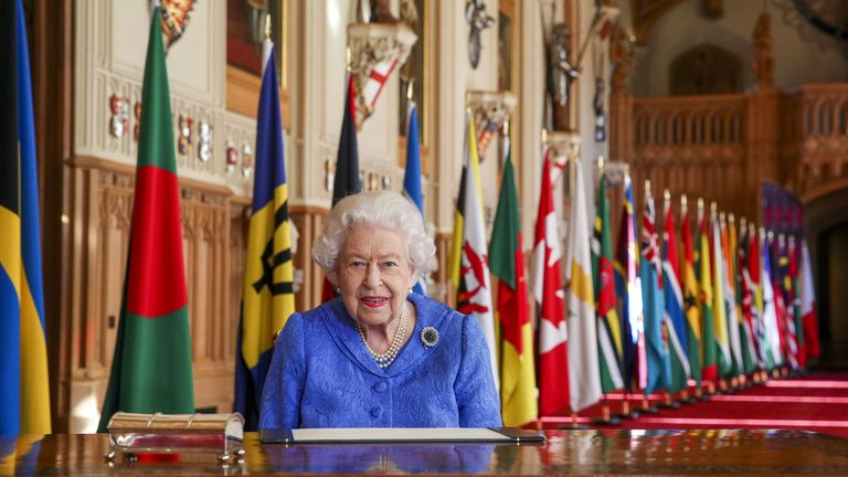 Queen Elizabeth II signs her annual Commonwealth Day Message at Windsor Castle