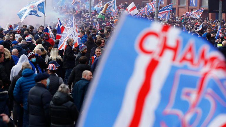 Rangers fans celebrate winning the Scottish Premiership - Ibrox, Glasgow, Scotland, Britain - March 7, 2021 Rangers fans celebrate as they are confirmed as Scottish Premiership champions