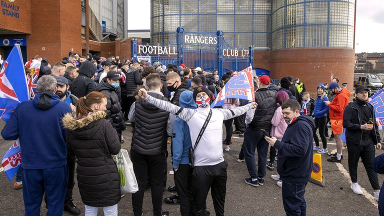 Rangers' fans outside the ground ahead of the Scottish Premiership match at Ibrox Stadium