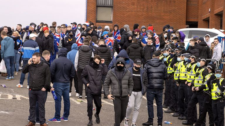 Rangers fans and police presence outside Ibrox