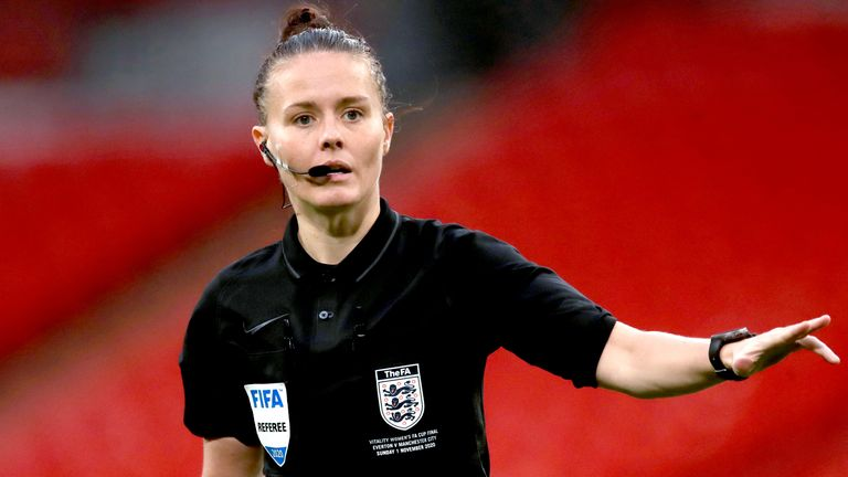 File photo dated 01-11-2020 of Referee Rebecca Welch during the Women's FA Cup Final at Wembley Stadium, London. Issue date: Tuesday March 30, 2021.