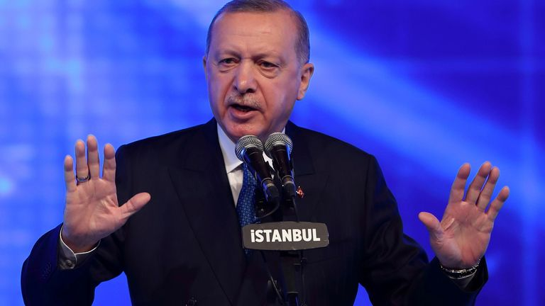 FILE PHOTO: Turkish President Tayyip Erdogan speaks during a meeting to announce an economic reform package, in Istanbul, Turkey March 12, 2021.