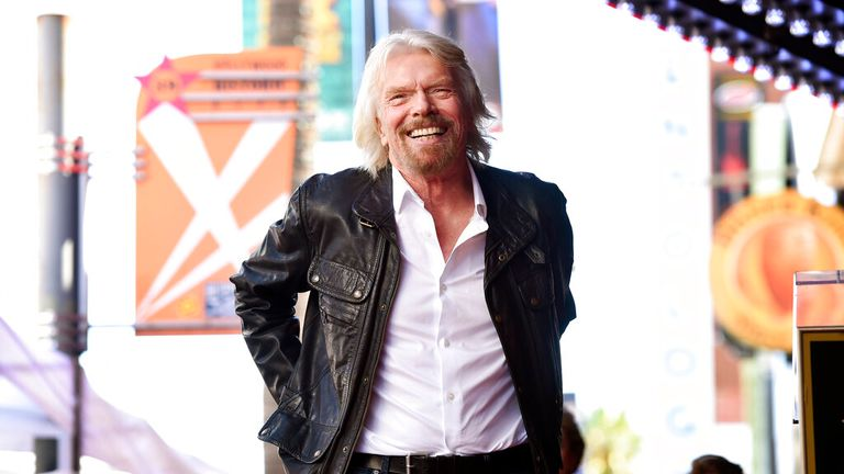 Sir Richard Branson takes the stage during a ceremony to award him a star on the Hollywood Walk of Fame, Tuesday, Oct. 16, 2018, in Los Angeles. (Photo by Chris Pizzello/Invision/AP)