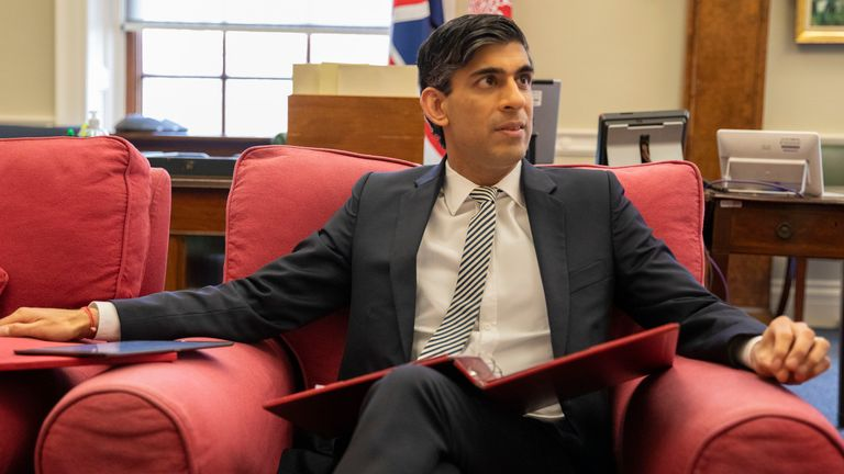 Chancellor Rishi Sunak makes final preparations ahead of his 2021 Budget. Pic: HM Treasury