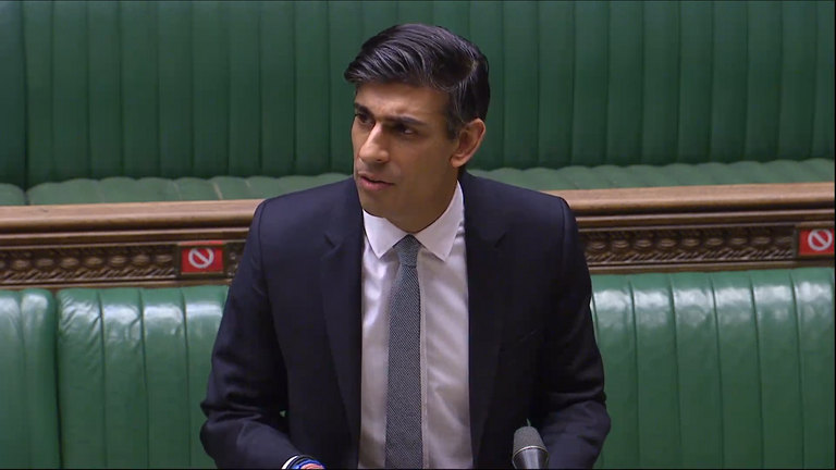 Chancellor Rishi Sunak delivers his Budget in the House of Commons.