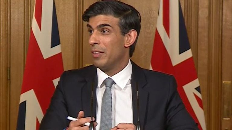 Rishi Sunak responds to Ed Conway at his Downing Street budget briefing