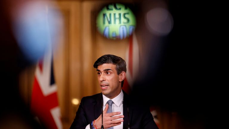 Rishi Sunak hosts a press conference in Downing Street Britain's Chancellor of the Exchequer Rishi Sunak attends a virtual press conference inside 10 Downing Street in central London, Britain March 3, 2021. Tolga Akmen/Pool via REUTERS