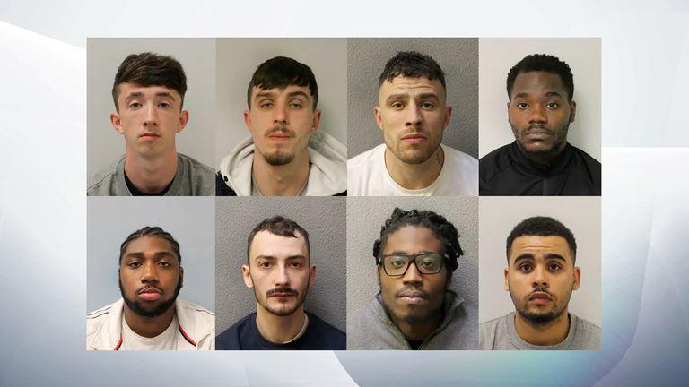 (From top left),  Steven Barton,  Martin Delaney,  Patrik Delaney,  Andy Kiasuka-Kiakanda,  Ryan Leurs,  Jordan Northover, Kiaron Jones-Hewitt and Kiaron Jones-Hewitt have been sentanced to a combined 100 years in jail.
