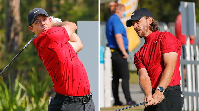 Rory McIlroy (left) and Tommy Fleetwood were among those who donned red and black to honour Tiger Woods