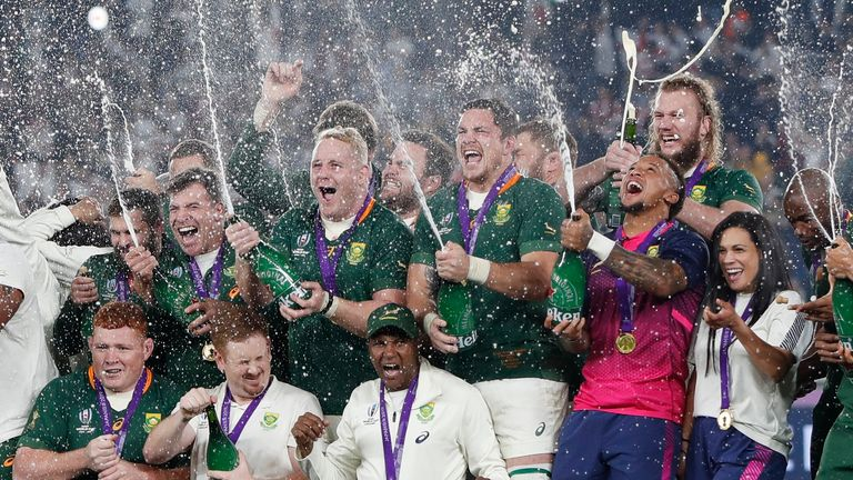 Rugby Union - Rugby World Cup - Final - England v South Africa - International Stadium Yokohama, Yokohama, Japan - November 2, 2019 South Africa players spray sparkling wine as they celebrate winning the world cup final.