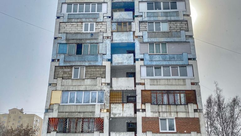 The blue building and blue corridor are Leningradsky Proskpekt, Kemerovo where the murder happend.  In flat 738.