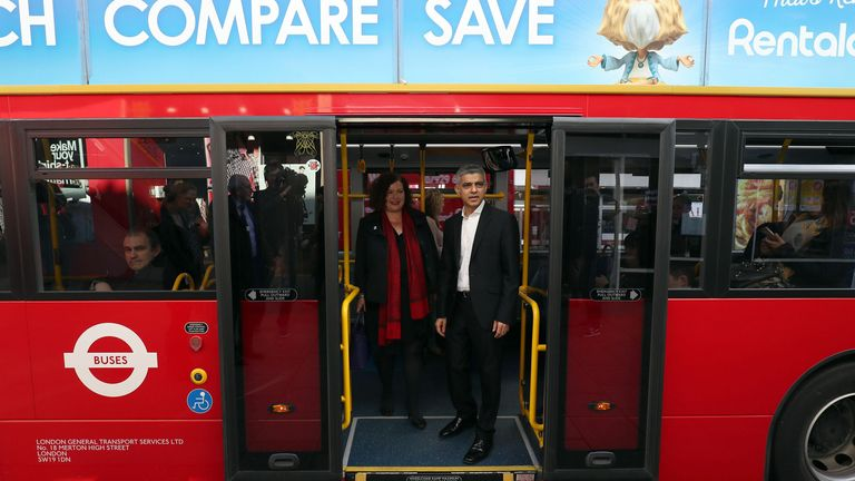 Mayor of London, Sadiq Khan (right) poses for a photograph on a bus with Leonie Cooper, London Assembly Member for Merton and Wandsworth, during the launch of the capital's first Low Emission Bus Zone, on Putney High Street, London.