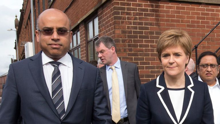 First Minister Nicola Sturgeon and Sanjeev Gupta, the head of the Liberty Group, ahead of a ceremony where Tata Steel handed over the keys of two Lanarkshire steel plants to metals firm Liberty House, at Dalzell steelworks in Scotland. 8/4/2016