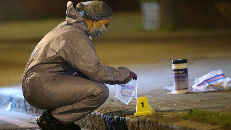 Forensics officers have been examining the area around Poynders Court on Poynders Road on the A205 in Clapham