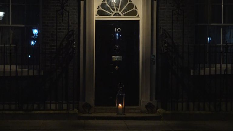 A candle was placed outside 10 Downing Street