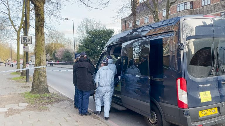 The police have been searching the Poynders Court housing complex in Clapham