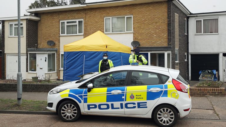 Police activity outside a house in Freemens Way in Deal, Kent