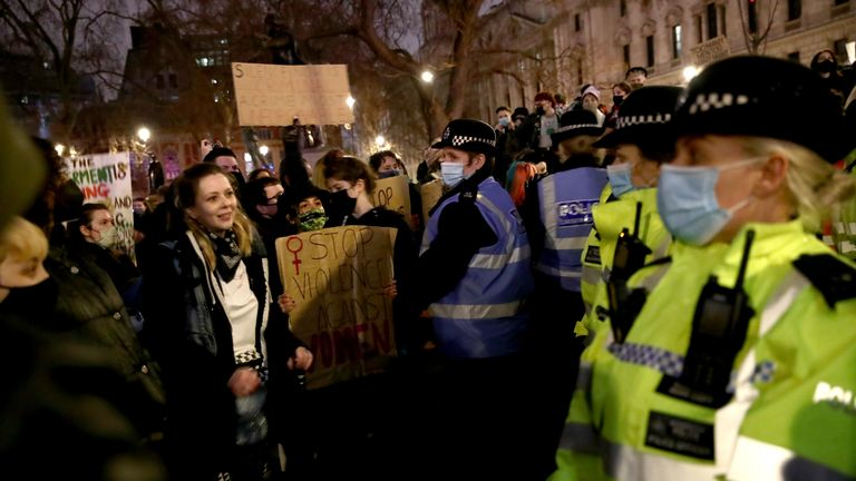 Hundreds of protesters gathered at Parliament Square in London on Sunday