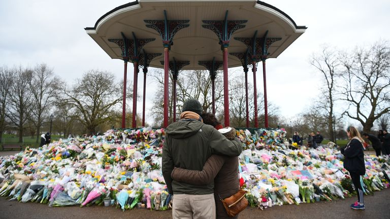 A sea of flowers covers Clapham bandstand in south London paying tribute to Ms Everard