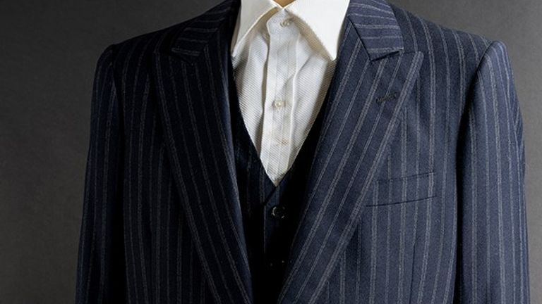 original pinstripe gangster style suit, worn by Al Pacino as Miami drug lord Tony Montana in the memorable and climactic final act of Brian DePalma's popular 1983 crime drama, Scarface