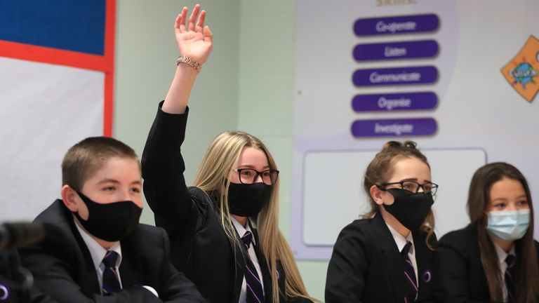 Children wearing facemasks during a lesson at Outwood Academy in Woodlands, Doncaster in Yorkshire, as pupils in England return to school